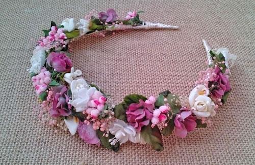 Diadema flores rosas y marfil flores en el pelo - Diademas de flores para nina ...